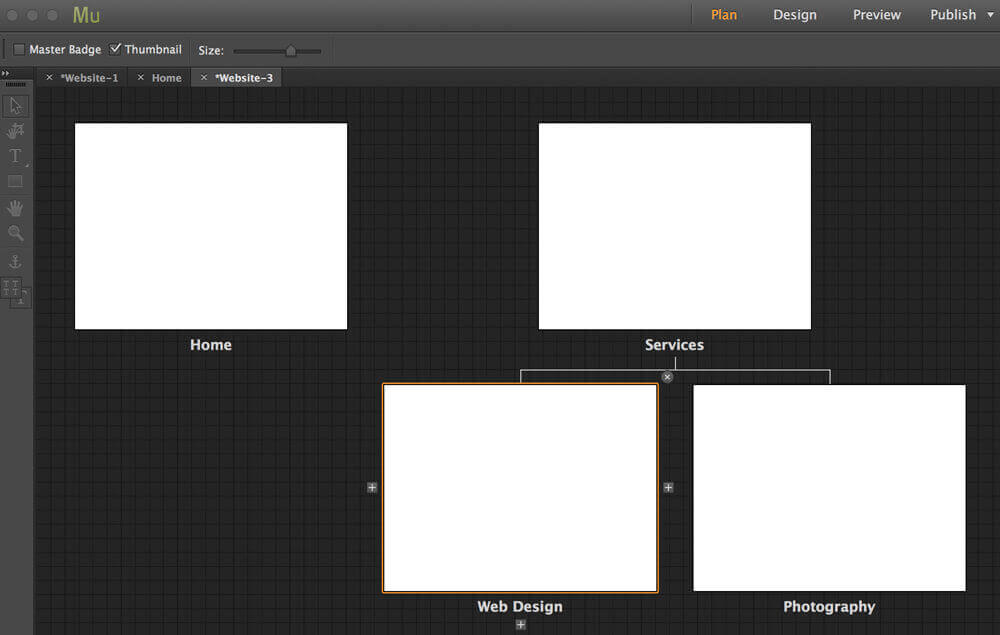 Plan view in Adobe Muse