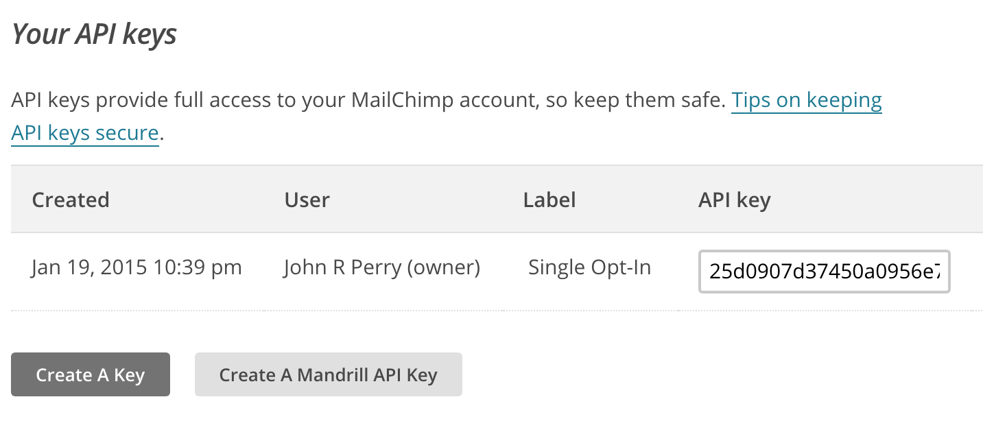Create your MailChimp API key
