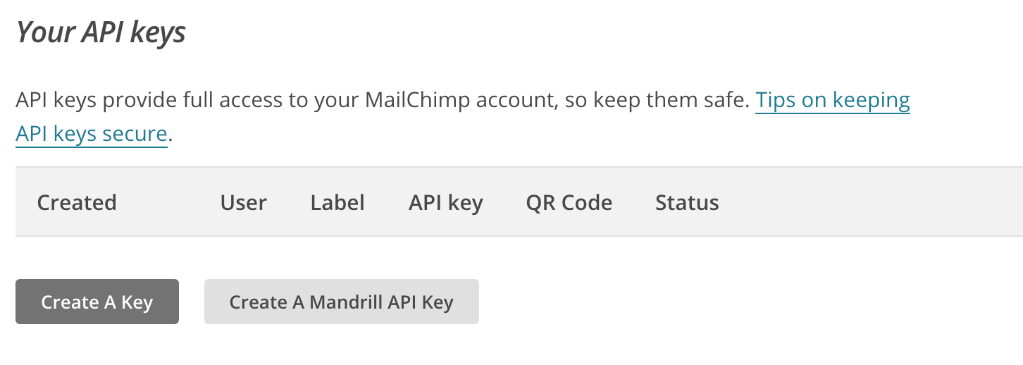 Copy your MailChimp API key