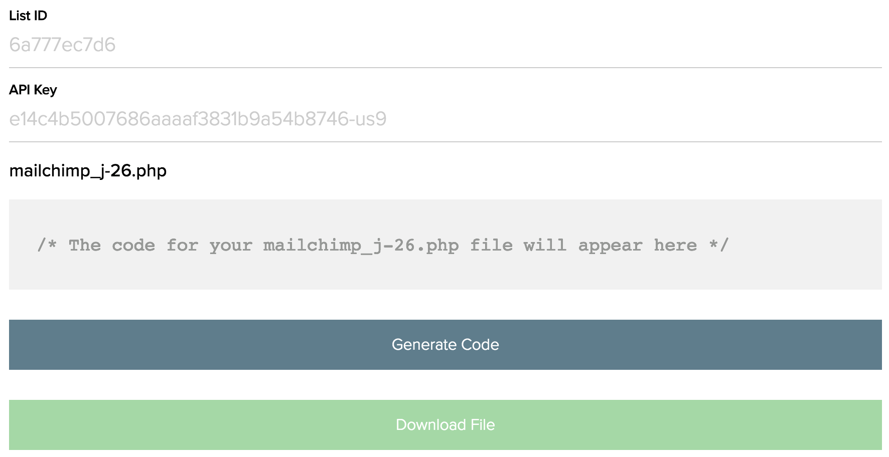 View of the mailchimp_j-26.php file generator