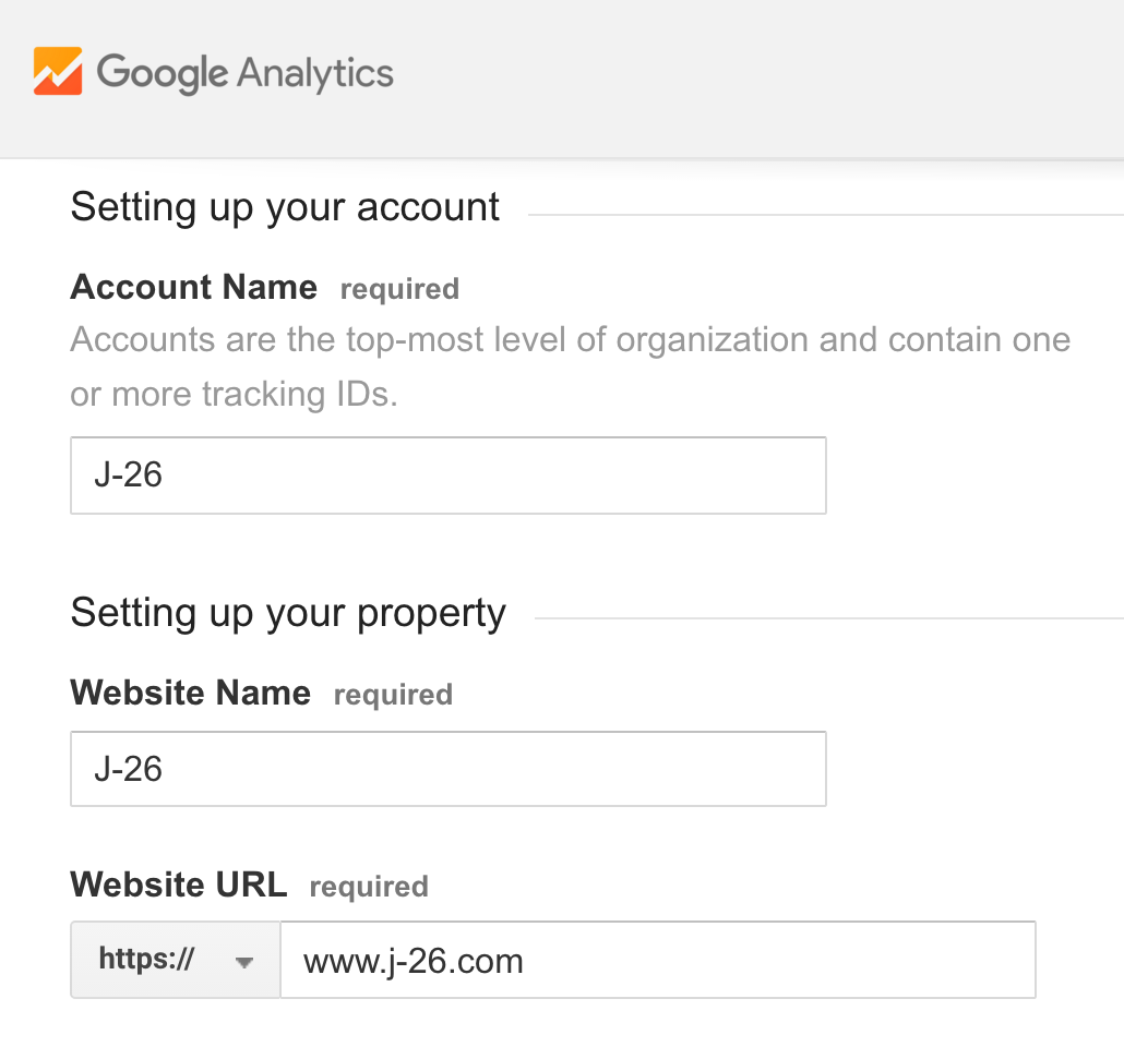 Setup a Google Analytics account