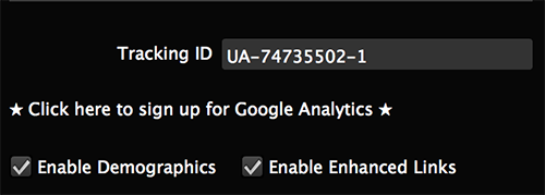 Example of Google Analytics widget