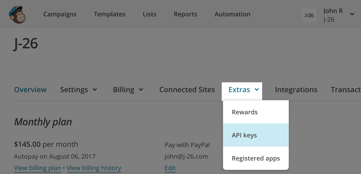 Click API keys in the Extras drop-down