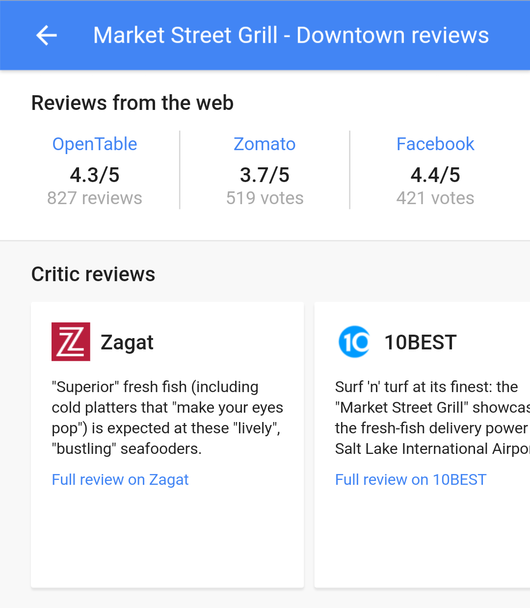 Example of a local business review in Google search