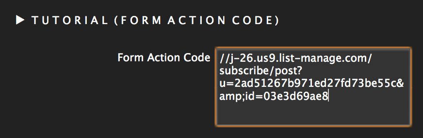 Mailchimp form action code