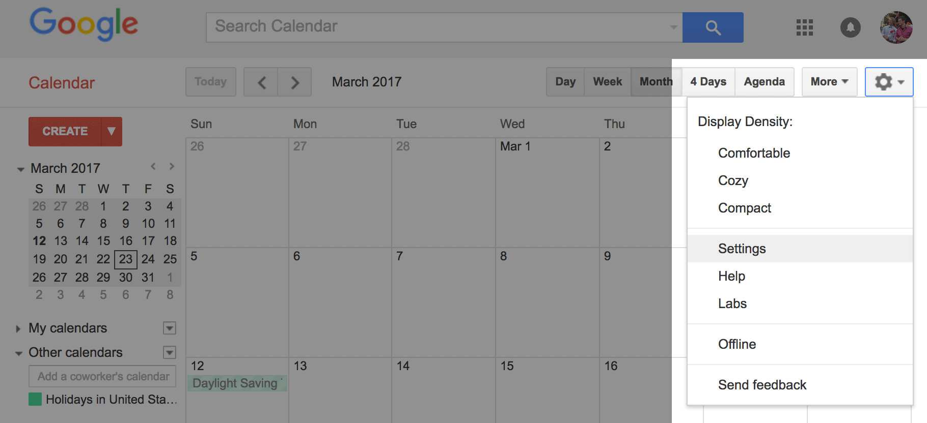Open the settings of the calendar by clicking the gear icon