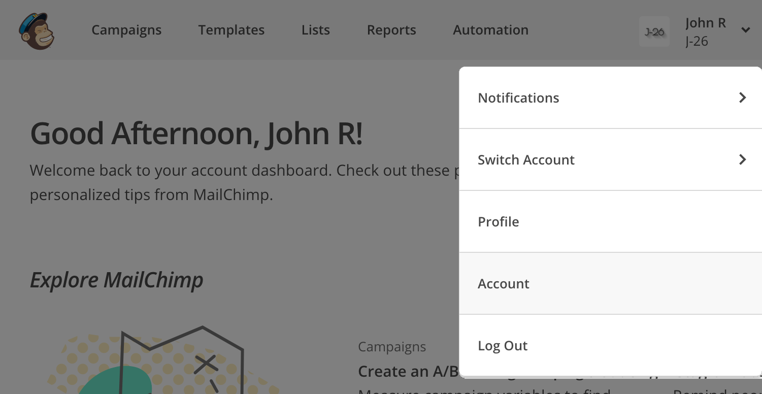 Go to the Account settings in Mailchimp
