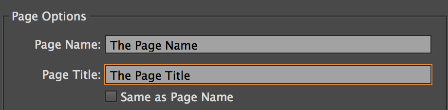Edit the page title in Adobe Muse