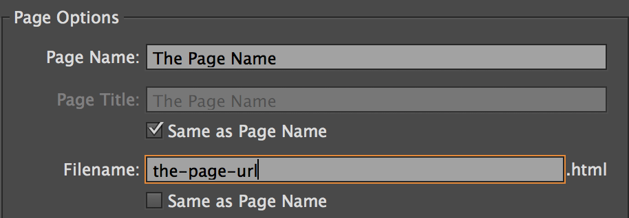 Edit the page URL in Adobe Muse