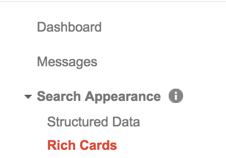 Rich cards can be tracked inside Google Webmaster under Search Appearance