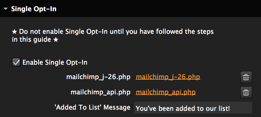 View of the Single Opt-In section of the Mailchimp widget