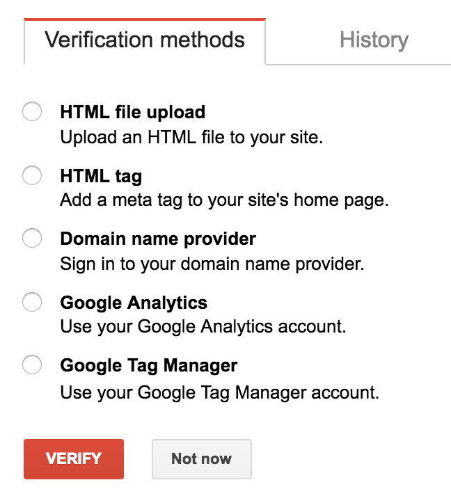 Verify your ownership of website